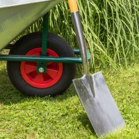 Wheelbarrow and spade
